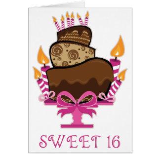 Bolo de chocolate & velas do cartão do doce 16