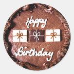 Bolo do feliz aniversario adesivo em formato redondo
