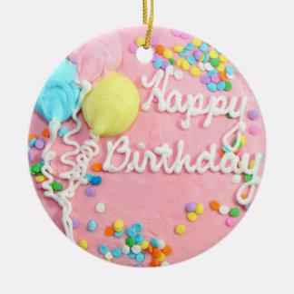 Bolo do feliz aniversario ornamento de cerâmica redondo
