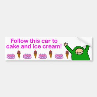 Bolo & sorvete (texto cor-de-rosa) adesivo para carro