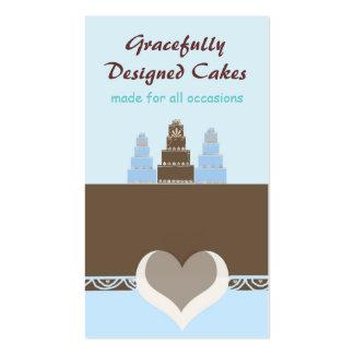 Bolos azuis e castanho chocolate do desenhista cartão de visita