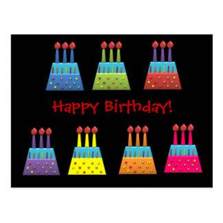 Bolos de aniversário do arco-íris do partido do bo cartões postais