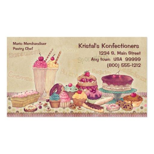 Bolos, tortas, biscoitos, cartão de visita do sorv