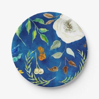 Bolota floral das sementes da folha moderna do prato de papel