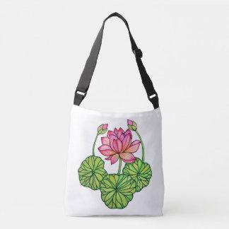 Bolsa Ajustável Aguarela Lotus cor-de-rosa com botões & folhas