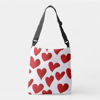 Bolsa Ajustável Amor vermelho pintado teste padrão do coração da