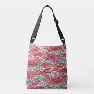 Bolsa Ajustável Arte Origami floral vermelho Yuzen de Washi do