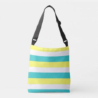 Bolsa Ajustável Azul do Aqua, listras amarelas e brancas do limão