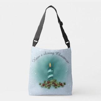 Bolsa Ajustável Azul e turquesa do Natal com vela