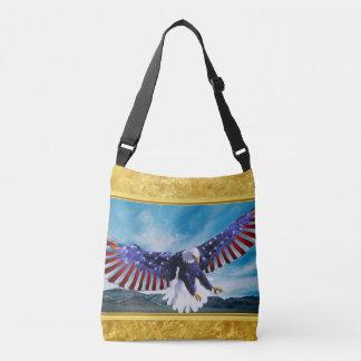 Bolsa Ajustável Bandeira americana Eagle que voa na folha de ouro