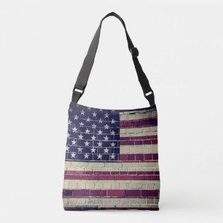 Bolsa Ajustável Bandeira de América do vintage em uma parede de