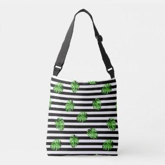 Bolsa Ajustável Branco tropical na moda do preto das folhas