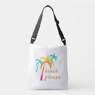 """Bolsa Ajustável brilho """"praia do ouro por favor"""" com palmas"""