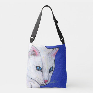 Bolsa Ajustável Cabeça da luz branca bonito do gato - os olhos