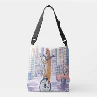 Bolsa Ajustável Cão do corgi de Galês do Pembroke em um unicycle
