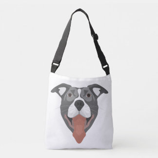Bolsa Ajustável Cão Pitbull de sorriso da ilustração