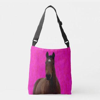 Bolsa Ajustável Cavalo grande de Brown no rosa,