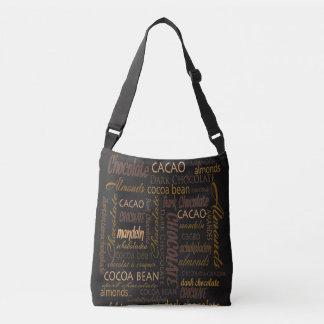 Bolsa Ajustável Chocolate, amêndoas e design de texto escuro do