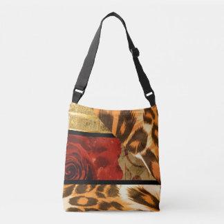 Bolsa Ajustável Colagem da rosa vermelha do impressão do leopardo