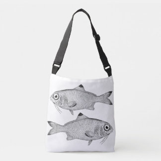 Bolsa Ajustável Desenho estranho dos peixes do vintage