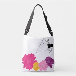 """Bolsa Ajustável Do """"gato verão"""" com sunglass e flores da coloração"""