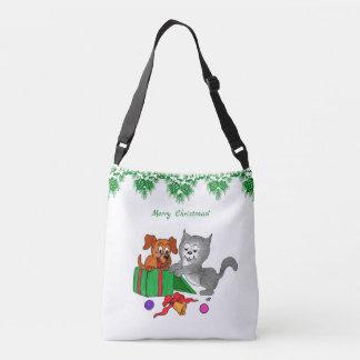 Bolsa Ajustável Feliz Natal com gato e cão