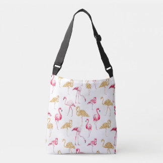 Bolsa Ajustável Flamingos no fundo branco