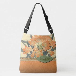 Bolsa Ajustável Flores japonesas da laranja do impressão de bloco