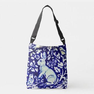 Bolsa Ajustável Folhas azuis, brancas dos pássaros do coelho do