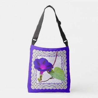 Bolsa Ajustável Fotografia floral e laço da corriola roxa