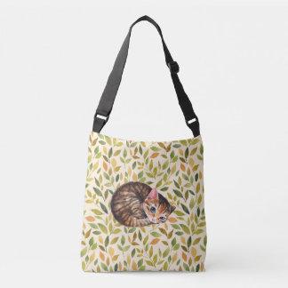 Bolsa Ajustável Gato sonolento, fundo floral