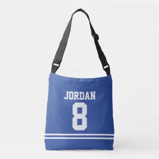 Bolsa Ajustável Jérsei azul do futebol com nome e número feitos