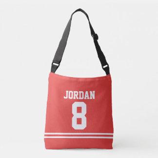Bolsa Ajustável Jérsei vermelho do futebol com nome e número