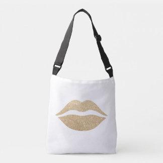 Bolsa Ajustável lábios claros elegantes do brilho do ouro