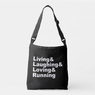 Bolsa Ajustável Living&Laughing&Loving&RUNNING (branco)