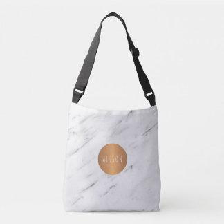 Bolsa Ajustável Livros geométricos de cobre de mármore brancos do