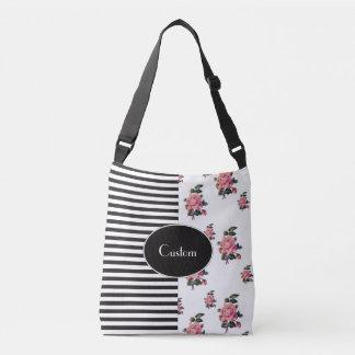 Bolsa Ajustável Metade e meia listra e rosa florais