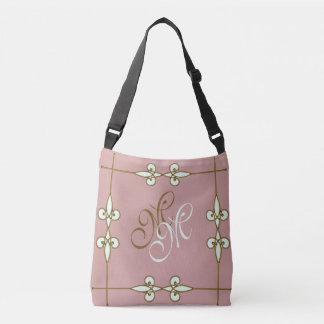 Bolsa Ajustável Monograma decorativo floral do art deco do vintage