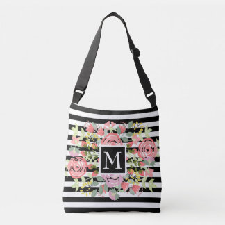 Bolsa Ajustável Monograma listrado floral romântico bonito