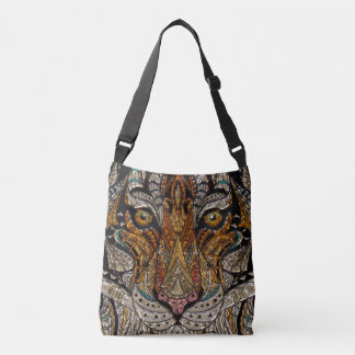 Bolsa Ajustável Mosaico tribal colorido da máscara do tigre