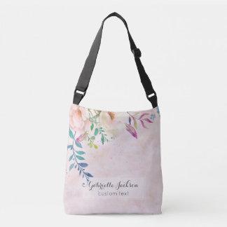 Bolsa Ajustável O chique cora texto floral do costume do monograma