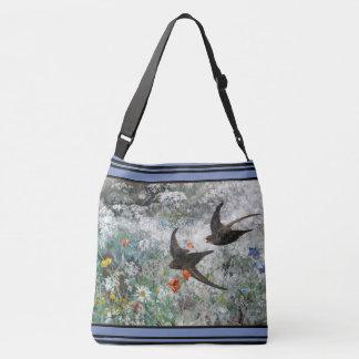 Bolsa Ajustável O Wildflower dos pássaros da andorinha floresce a