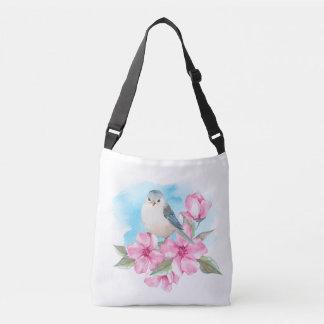 Bolsa Ajustável Pássaro branco. Primavera da aguarela
