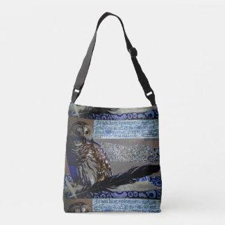 Bolsa Ajustável Pena da madeira da colagem da natureza da coruja