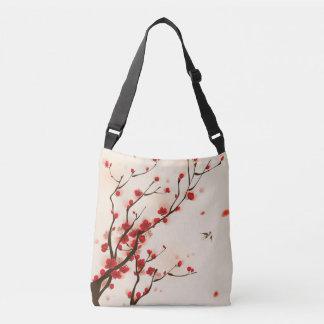 Bolsa Ajustável Pintura asiática do estilo, flor da ameixa no
