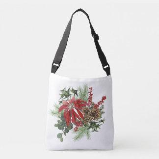 Bolsa Ajustável poinsétia moderna do feriado do vintage floral