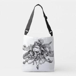 Bolsa Ajustável Preto & branco extravagantes do crânio e do pirata