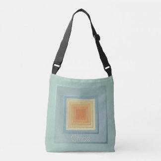 Bolsa Ajustável Quadrados geométricos elegantes (luz - azul &