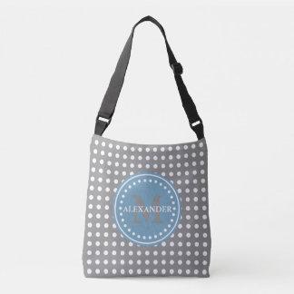 Bolsa Ajustável Saco azul da fralda do monograma das bolinhas de