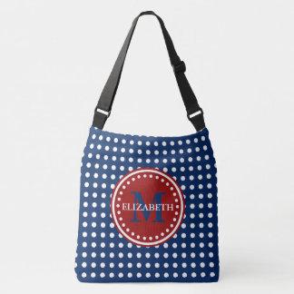 Bolsa Ajustável Saco branco e azul vermelho da fralda do monograma
